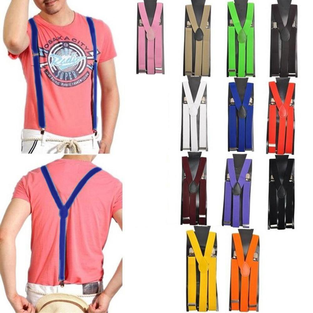 2020 Elastic Suspenders Y-Shape Adjustable Braces Gift Unisex Candy Color  With 3 Silver-tone Clips And 2 Length Adjusters