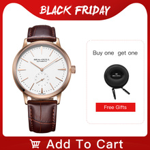 Seagull Business Watches Mens Mechanical Wristwatches 50m Waterproof Leather Valentine Male Watches 819.22.6075