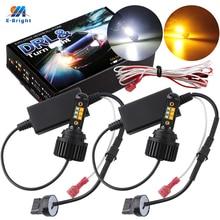 YM E parlak 2 adet P21W BA15S PY21W BAU15S 3156 7440 hata ücretsiz Canbus hiçbir Hyperflash araba günü ışıkları dönüş lambası 12V beyaz + Amber