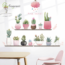 Creative wall sticker cartoon flower pots stickers self-adhesive living room wall decor girl bedroom decor window home decor cheap Plane Wall Sticker For Refrigerator For Tile For Wall Furniture Stickers Window Stickers Single-piece Package PLANT Bedroom living room window