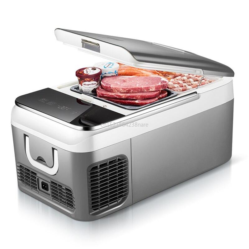 18L Car Refrigerator Compressor Refrigeration Car Dual-use Dormitory Small Freezer 12-24V/220V Refrigeration And Freezing 48W