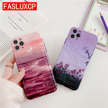 Purple Starry Sky Moon Camera Protection Soft IMD Phone Case for