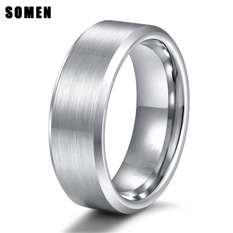 8mm Men's Brushed Tungsten Carbide Ring Engagement Rings Male Polished Beveled Edges Wedding Band Fashion Jewelry