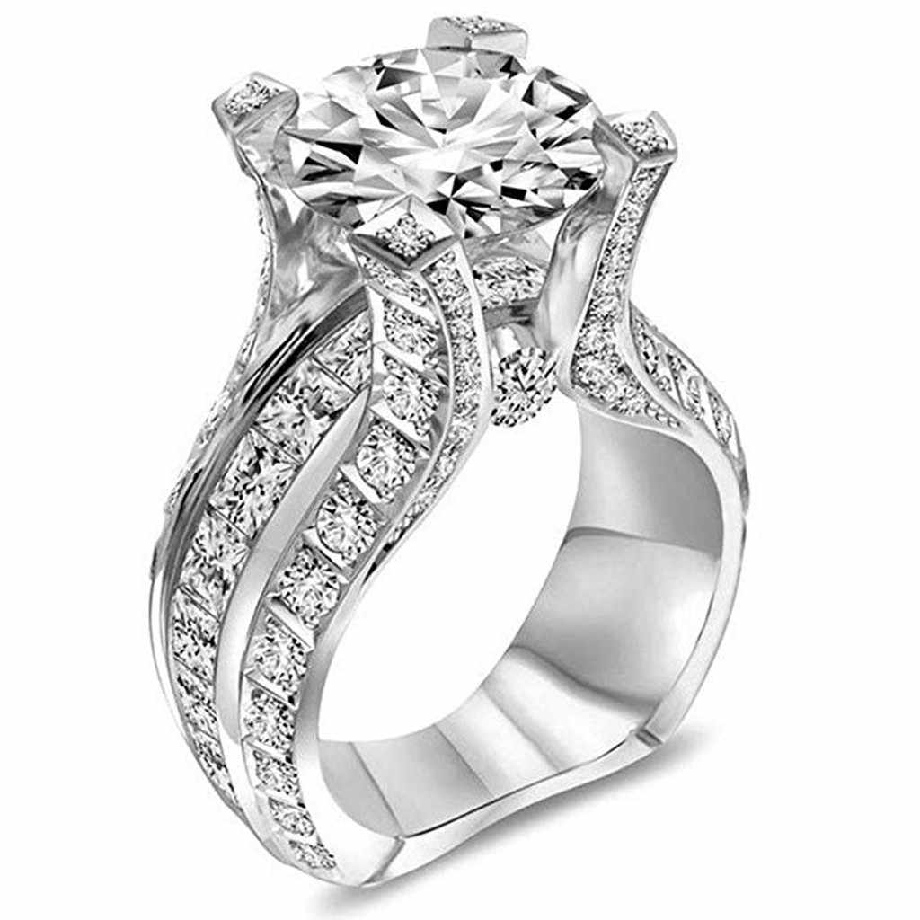 HOT new Silver Ring Bridal Zircon Elegant Engagement Wedding Band Ring rings set for women Wedding rings for women Wedding
