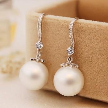 Huitan Elegant Round Imitation Pearl Dangle Earrings Dazzling CZ Women Engagement Wedding Graceful Accessories Fashion Earrings 3