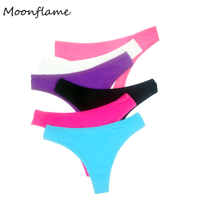 Moonflame 5 Pcs/lots Sexy G-String Cotton Women Underwear G String Thong 87181
