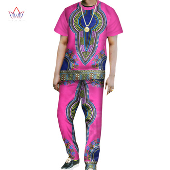 Customized Men Sets Summer 2016 Mens Clothes Top & Trousers Set Men Africa Style Short Sleeve Set Print  African Clothing WYN168