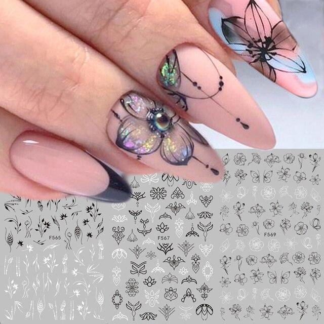 1pc 3D נייל מדבקות שחור לבן פרח דבק רדיד מדבקות מכתב פרפר עיצובים מחוון נייל אמנות קישוט טיפים LAF555 573