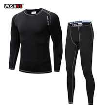 WOSAWE Motorcycle Thermal Underwear Set Men's Motorcycle Skiing Winter Warm Base Layers Tight Long Johns Tops & Pants Set winter warm outdoor sports thermal underwear set polartec long johns men women thermal underwear top pants cycling base layers 4