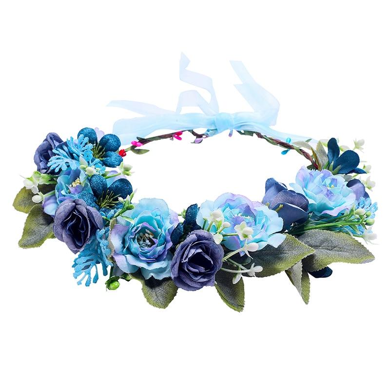 Темно-синий цветочный венок, бледно-голубой венок для волос, Свадебный венок для невесты