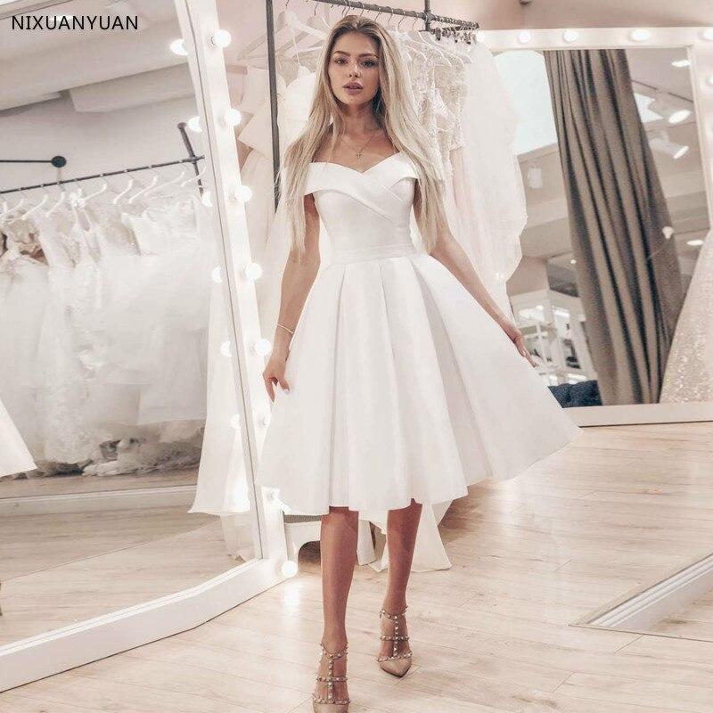 Cheap Satin Short Wedding Dress Bridal Gowns Simple Off The Shoulder A-line Plus Size Wedding Dresses Robe De Mariage