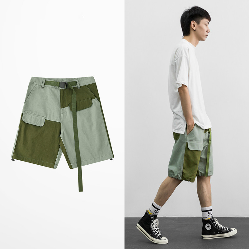 Tide Brand HIgh Street Dark Souls Fashion Shorts Male Patch Work Ribbon Five Point Short Pants Skateboard Hip Hop Cargo Shorts