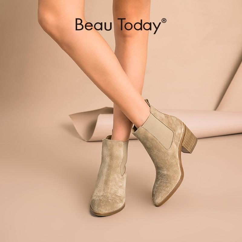 BeauToday/женские ботинки «Челси»; Женская обувь из натуральной коровьей замши с острым носком на высоком каблуке; Женская обувь ручной работы; 03341|Полусапожки|   | АлиЭкспресс