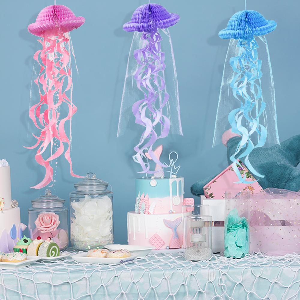Mermaid Party Decorations Hanging Honeycomb Jellyfish Pastel Mermaid Birthday Supplies Paper Ornament Happy Birthday Favors(China)