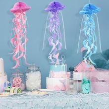 Mermaid Party Decorations Hanging Honeycomb Jellyfish Pastel Mermaid Birthday Supplies Paper Ornament Happy Birthday Favors