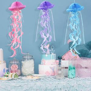 Image 1 - Mermaid Party Decorations Hanging Honeycomb Jellyfish Pastel Mermaid Birthday Supplies Paper Ornament Happy Birthday Favors