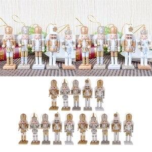Image 2 - 15pcs Kerst Decor Ornamenten Houten Notenkraker Beeldje Marionet Pop Speelgoed