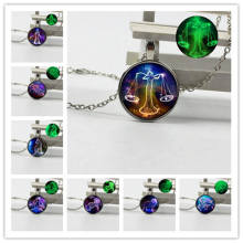 New jewelry retro crystal glass silver plated bottom luminous necklace twelve constellations full set