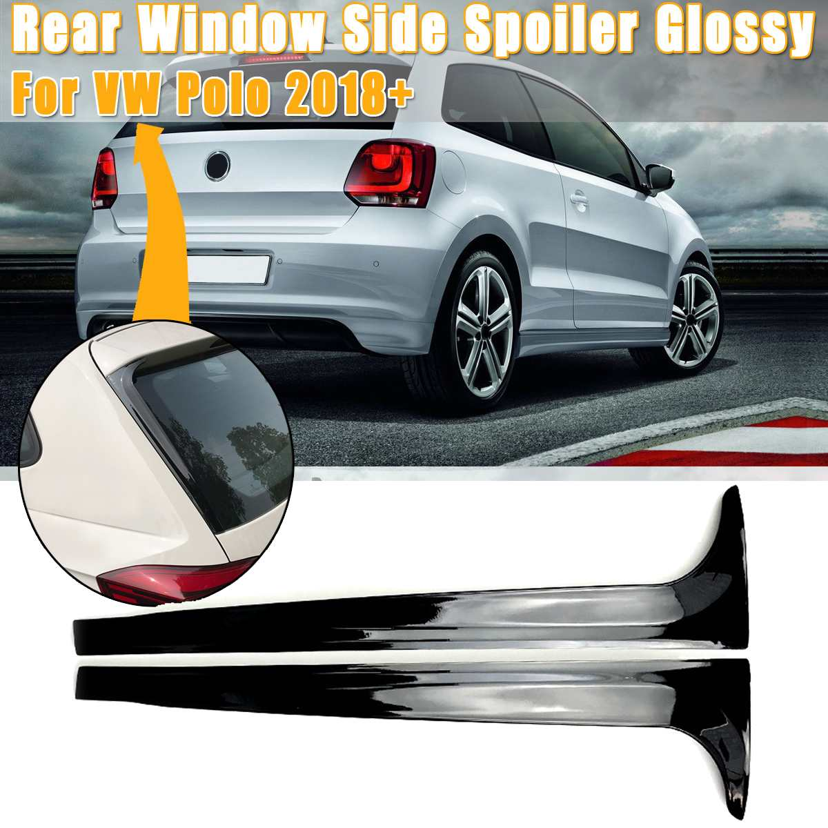 2PCS Rear Window Side Spoilers Glossy Canard Canards Splitter For VW for Polo MK5 2011-2017 MK6 2018 2019  Car Styling Accessori