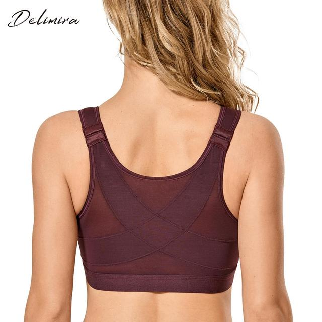 Delimira Womens Front Closure  Full Coverage Wire Free Back Support Bra