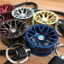 Diameter 4CM JDM Car Rim BBS LM Wheel with brake disc plastic Rope knot hellaflush style keychain for Honda toyota Accessories