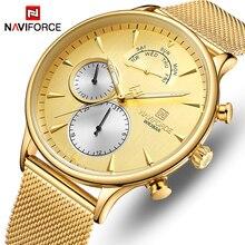 NAVIFORCE montre de Sport à Quartz pour hommes, Top de luxe, marque, entièrement en acier, étanche, horloge de Date, nouvelle collection 2019