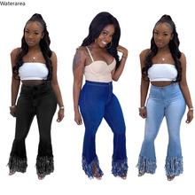 Kobiety lato myte średnio wysoka talia zipper fly obszycie we frędzle flare spodnie dżinsowe streetwear moda długie dżinsy spodnie tanie tanio COTTON Poliester Pełnej długości Osób w wieku 18-35 lat QJ5315 Na co dzień Stripe Tassel Bielone Zgrywanie Spodnie pochodni