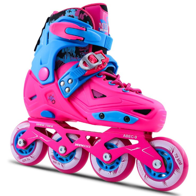 Professional Roller Skating Shoes Adjustable Sliding/Slalom Inline Skates For Kids Children Skate Shoes Pink/Blue