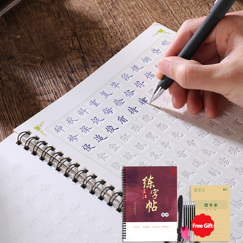 3D Chinese Characters Reusable Groove Calligraphy Copybook Erasable Pen Learn Hanzi Adults Art Writing Books