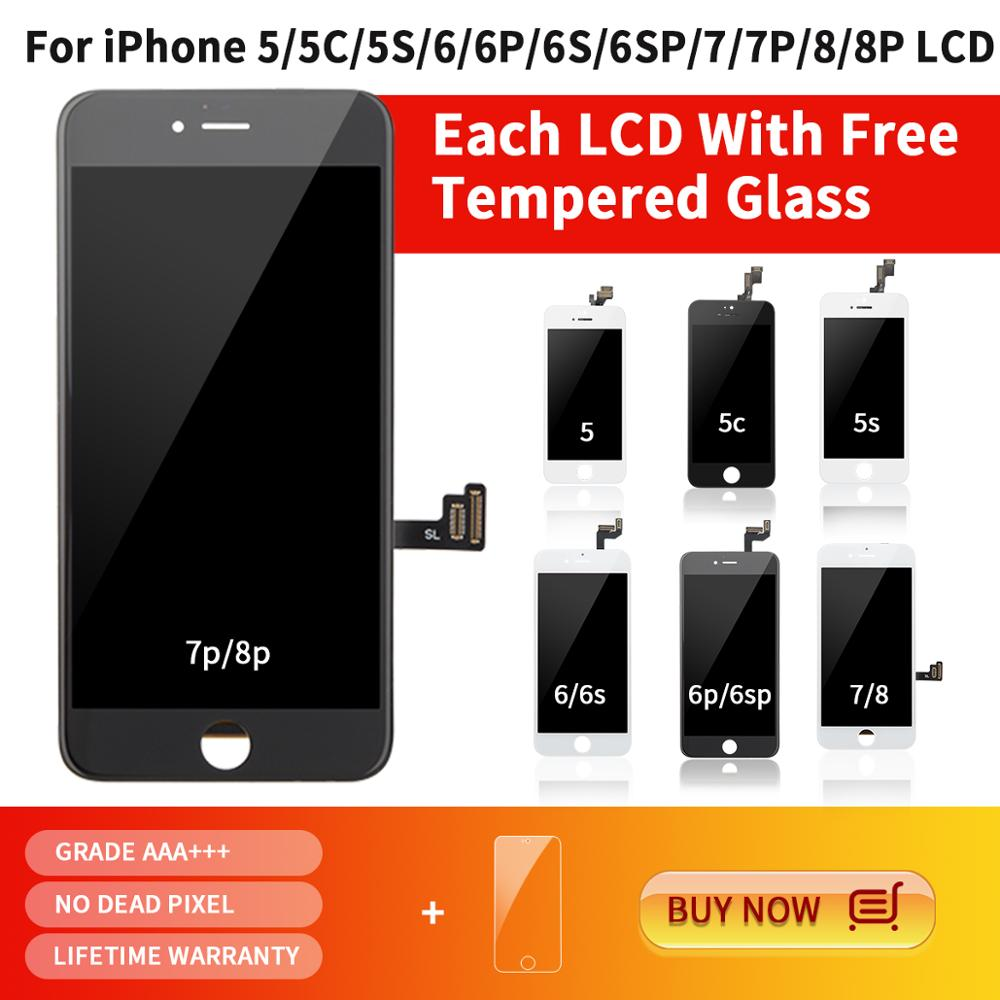 10 Piece Grade AAA+ Replacement Touch Screen Digitizer Assembly LCD For iPhone 5 5S 6 6S 7 8 Plus Display(China)