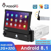 Podofo Auto Multimedia Player Versenkbare Android Wifi GPS Optional Autoradio 1 Din Touch Screen Stereo Receiver Unterstützung Kamera