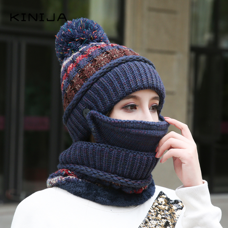 Color Matching Hat For Women Thicken Velvet Thick Hat Hat And Neck Mask Three Piece Set Warm Wool Hat Removable Face Shield