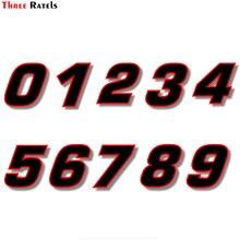 Три крыла FTC-717# виниловая наклейка черная(красный контур) quare шрифт гоночный номер Наклейка для автомобиля двигатель велосипед