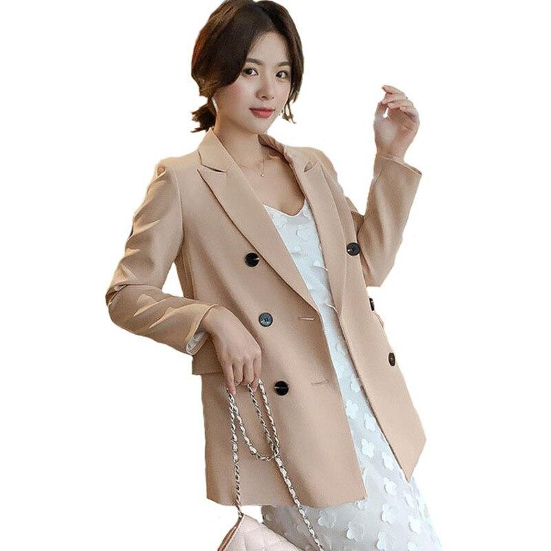 Autumn Winter Clothes Large Size Blazer Office Lady Black Coats Loose Casual Elegant Women Button Cardigan