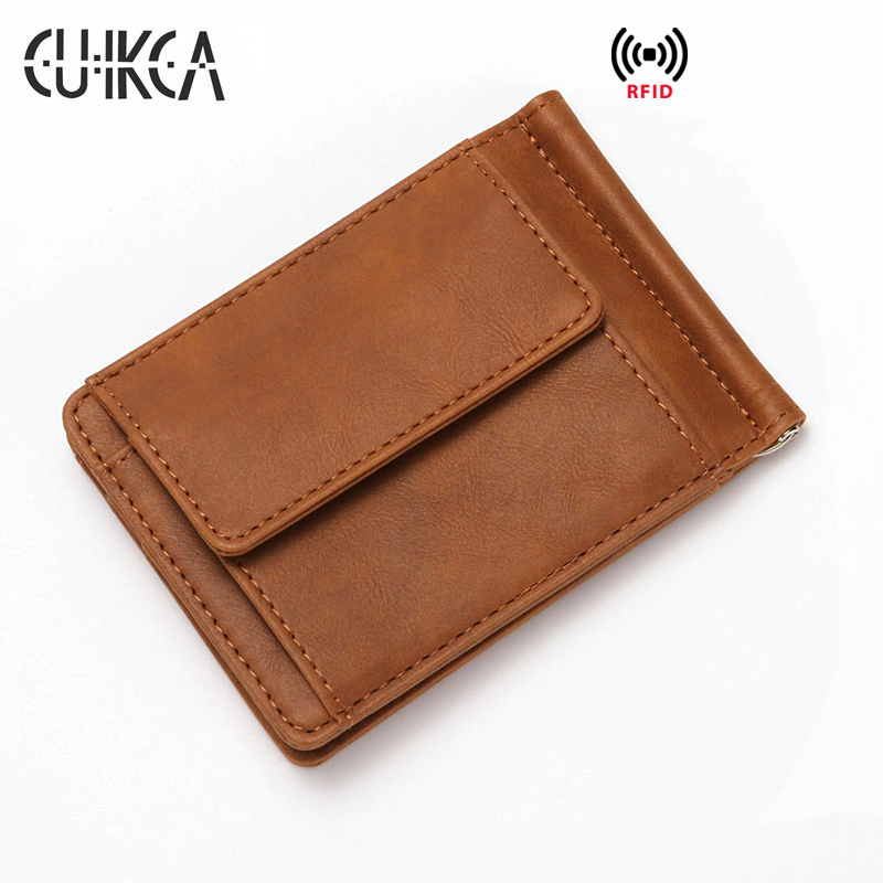 CUIKCA Leather Unisex Rfid Wallet Coin Bag Money Clip Women Men Metal Clip Wallet Business ID Credit Card Cases Travel Wallet in Card ID Holders from Luggage Bags