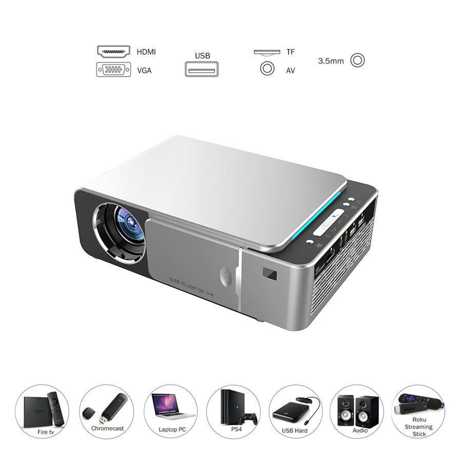VIVICINE Newest V200 1280X720P LED HD Projector, Optional Android 7.1 Bluetooth,Support 4K Wifi HDMI USB LCD Home Theater Beamer 16