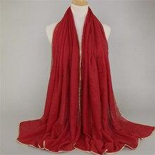 Классический женский шарф Мусульманский удобный Хиджаб Женский сплошной золотой линии шаль леди bufanda