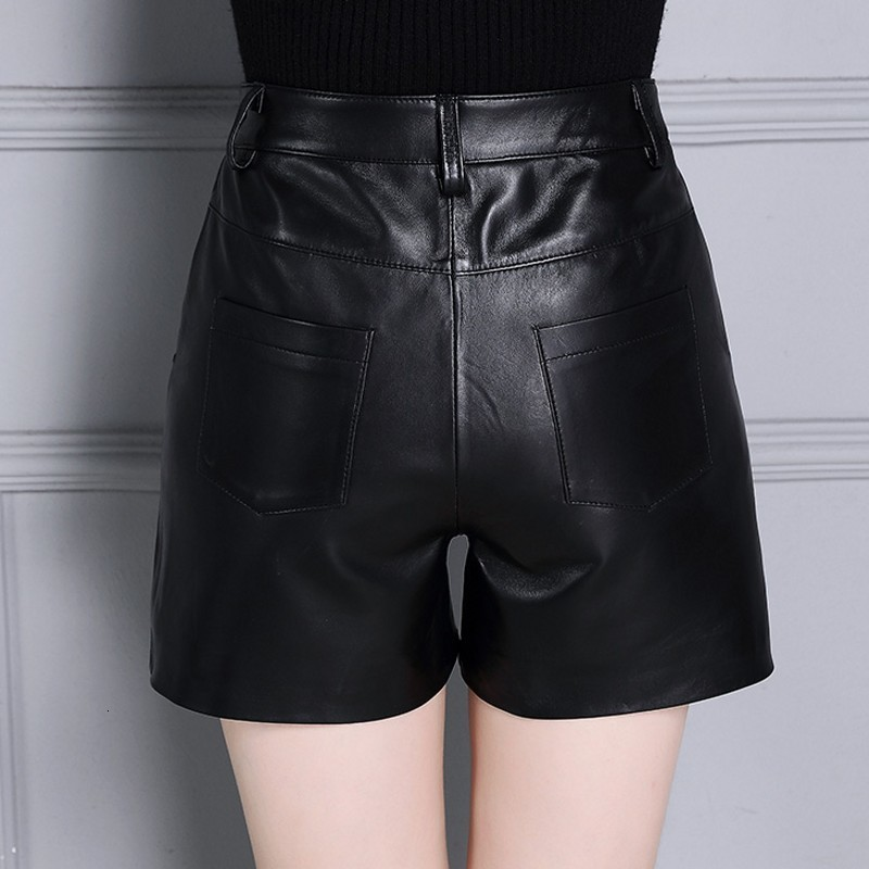 Real Leather Casual Streetwear High Waist Black Female Shorts Straight Punk Korean Fashion Sheepskin OL Plus Size 4XL Trousers
