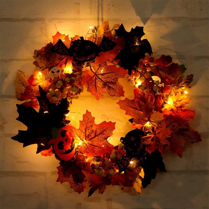 Artificiale Halloween Corona Anteriore Porta Hanging Ghirlanda di Festa Decorazioni per La Casa (con Alimentato a Batteria Stringa di Luce a Led)
