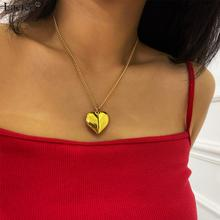 Lacteo Korea Cute Openable Peach Heart Pendant Necklace 2020 Fashion Lover Gifts Long Chain Choker Necklace Jewelry for Women