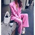 Ael ol estilo duas peças conjunto para as mulheres listrado manga longa blazer cintura alta solta calças compridas femininas ternos casuais 2019 outono