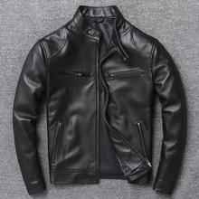Mężczyźni prawdziwa nowa kurtka Slim motocykl kożuch prawdziwy płaszcz skórzany wysokiej jakości duże rozmiary Lambskin męska odzież wierzchnia ubrania tanie tanio STANDARD NONE Poliester Kieszenie Zamki Stałe Krótki Men Leather Jacket Szczupła MANDARIN COLLAR Moto Biker zipper