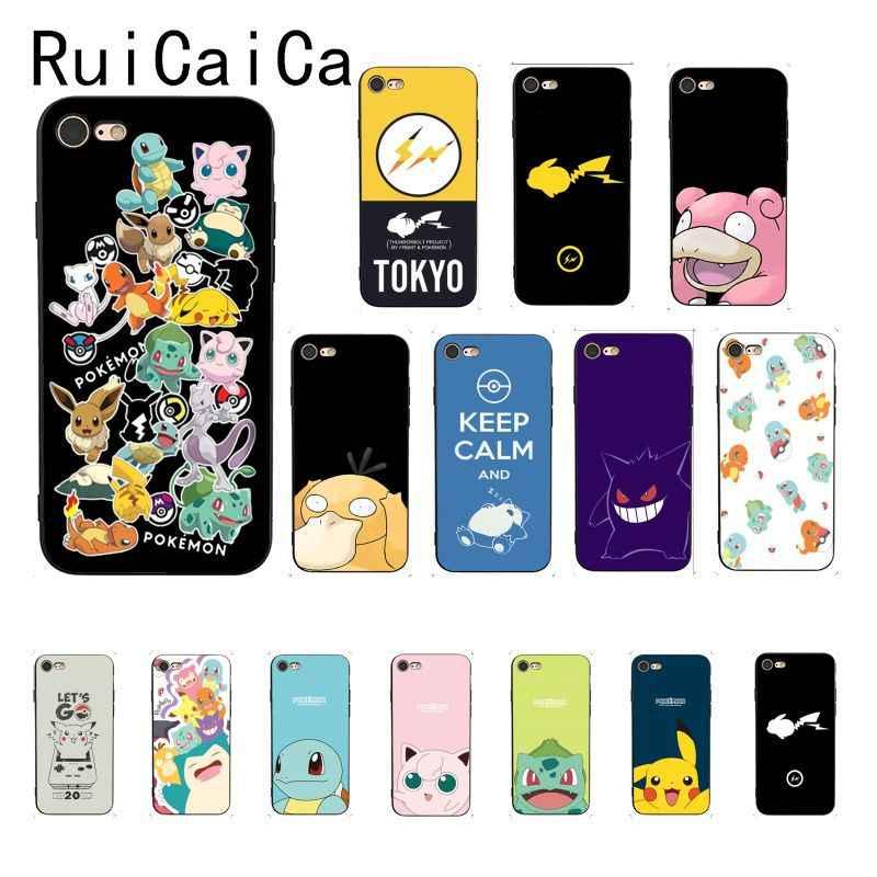 พ็อกเก็ตมอนสเตอร์ Pokemon Pikachu ฝาครอบสีดำสำหรับ iPhone 8 7 6 6S 6Plus X XS MAX 5 5S SE XR 10 ฝาครอบ