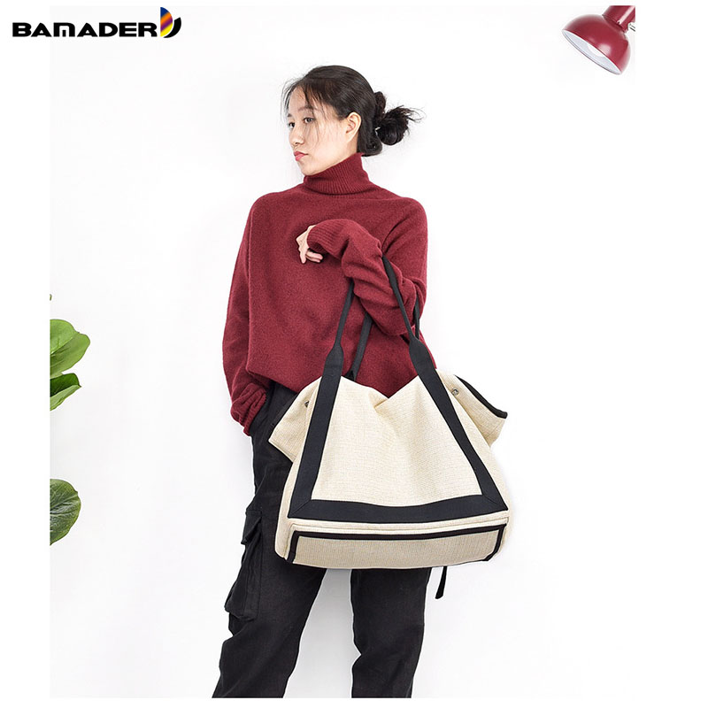 BAMADER 2019 Cotton And Linen Ladies Canvas Bag High Capacity Women's Designer Handbag Ladies Casual Solid Color Shoulder Bag