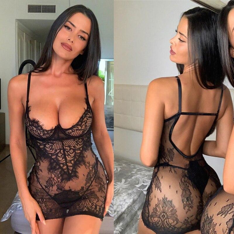 2PCS/Sets Women's Lingerie Mini Dress+G-string Lace Transparent Sexy Underwear Plus Size Babydoll Backless Dress Erotic Costumes