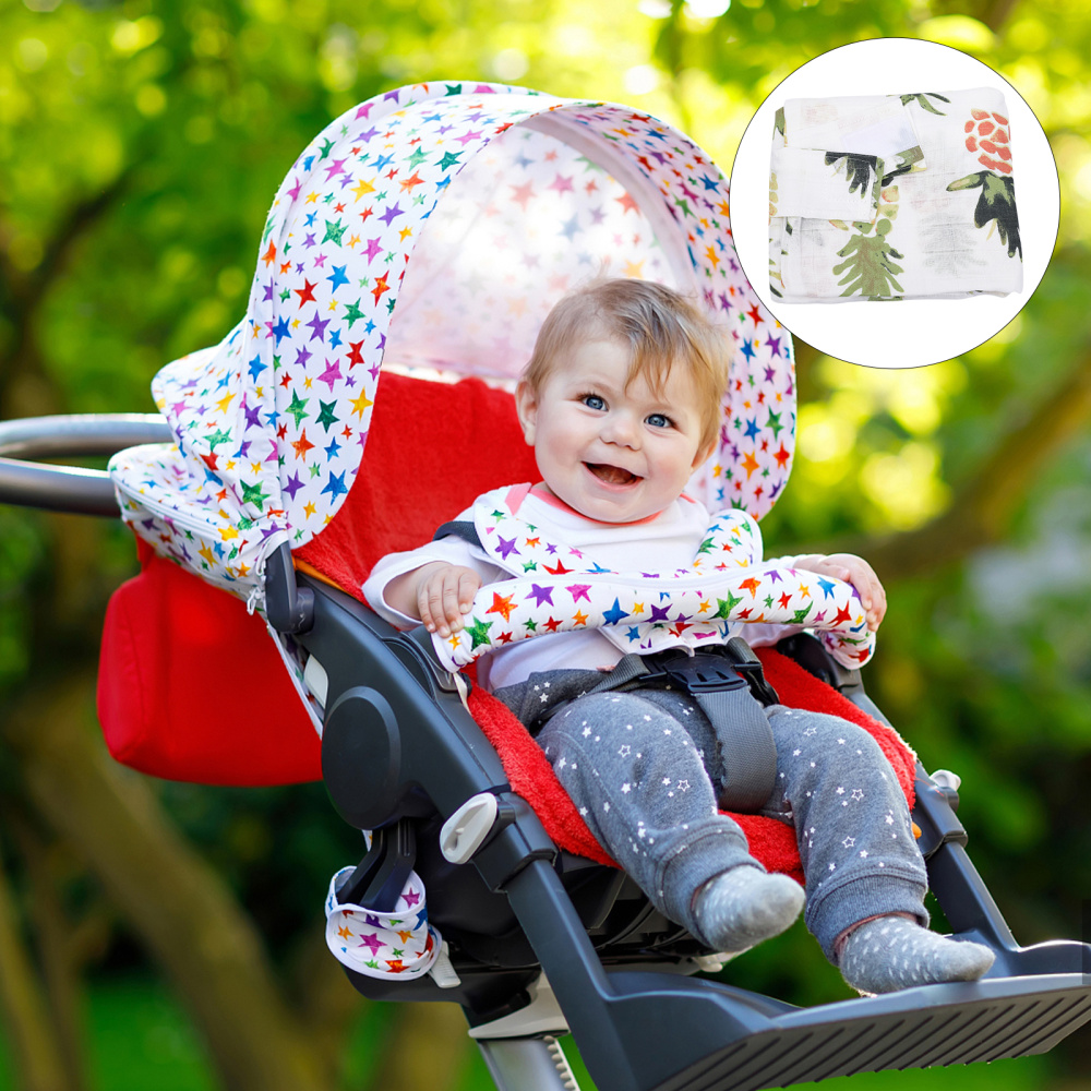 Outdoor Baby Stroller Breathable Cotton Cover Car Seat Cover Sunshade Canopy