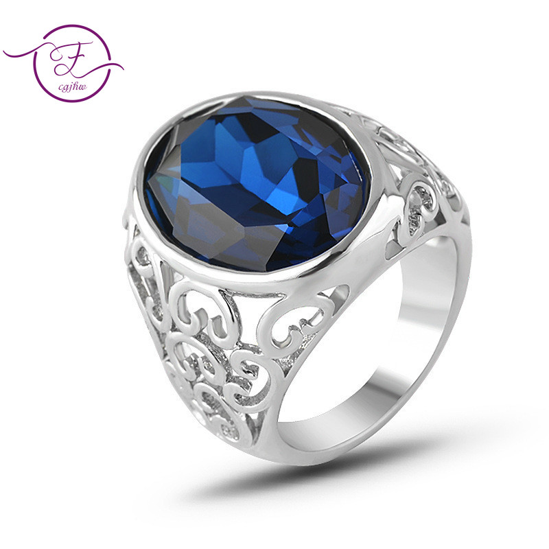 Blue Crystal Retro Created Gem Ring Silver Ring Gemstone Silver Jewelry Accessories For Men Women Birthday Gift