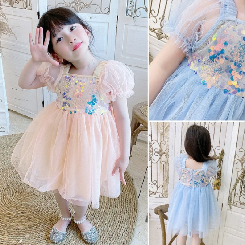 2020 Kids Flower Sequins Girls Dress Tutu Princess Dresses Casual Costumes Christmas Party Perform Children Clothes Wear 1