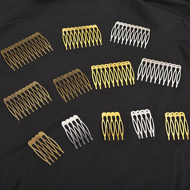 10 pçs 5/10 dentes de metal cabelo pente garra hairpins (níquel/ouro/bronze) para diy casamento jóias descobertas & componentes