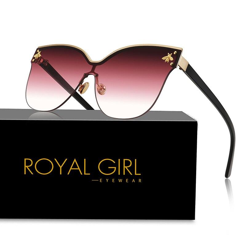 MENINA REAL Oversize Óculos Sem Aro Óculos De Sol Das Mulheres 2019 Moda Olho de Gato Óculos de Sol Abelha Fêmea Retro Marca Designer Oculos UV400 ss735